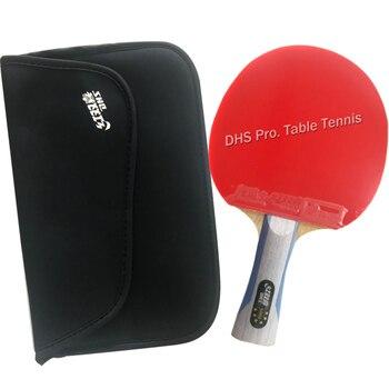Dhs 6002 longo shakehand fl tênis de mesa ping pong raquete + um saco raquete shakehand alça longa fl