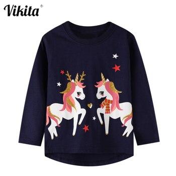 VIKITA Unicorn T Shirt Girl T-shirt Long Sleeve Kids Tops Princess Tshirt Autumn Unicornio shirt Licorne Koszulki Clothes