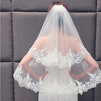 2021 Elegant Two Layers Lace Bridal Veil With Comb Women Wedding Veil White Ivory 1
