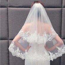 2019 Elegante Lace Duas Camadas Véu de Noiva Com Combe Mulheres Nupcial Do Casamento Véu Branco Marfim