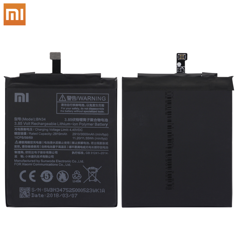 Original <font><b>3000mAh</b></font> BN34 Backup <font><b>Battery</b></font> For Xiaomi Redmi 5A <font><b>Battery</b></font> High Capacity Phone <font><b>Battery</b></font> Replacement For Mi Redmi 5A <font><b>Battery</b></font> image