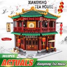 DHL XINGBAO, 01021, 3033 шт., китайская Строительная серия, чайный домик в форме Туна, набор строительных блоков, кирпичи, детские игрушки, модель, подарки на день рождения