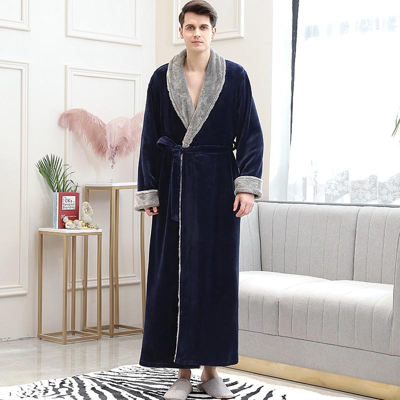 Image 5 - Lovers Winter Long Flannel Coral Fleece Warm Solid Bathrobe Women Men Kimono Pink Bath Robe Bridesmaid Sexy Dressing Gown-in Robes from Underwear & Sleepwears on AliExpress