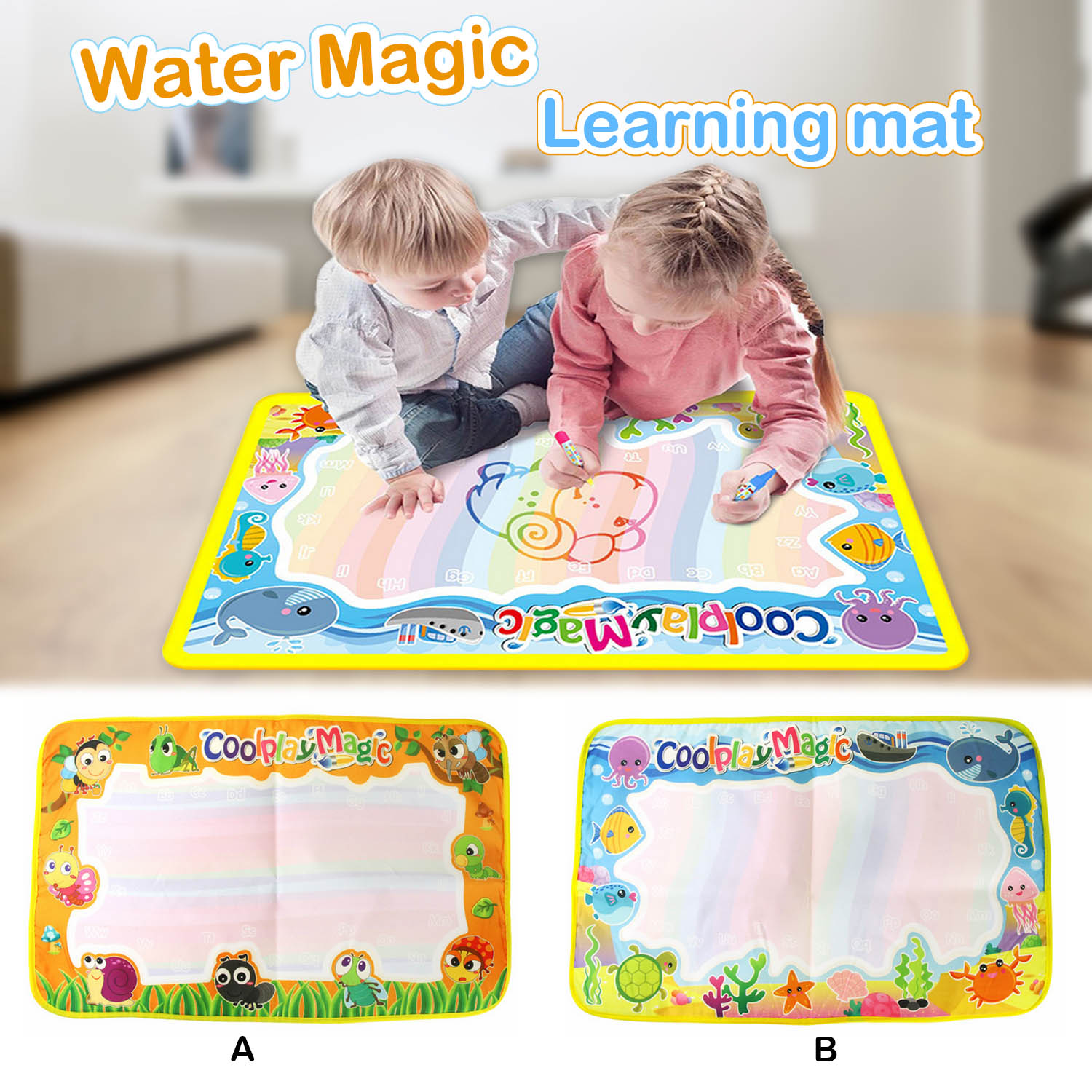59x36cm Magic Reusable Water Drawing Mat Painting Doodle Mat Carpet with 2PCS Pens for Kids Children Early Educational Toys