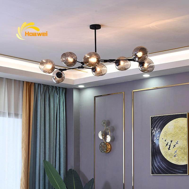 Nowoczesny szklany oświetlenie ledowe żyrandol Lustre metalowy salon sypialnia willa dom wisiorek dekoracyjny lampa żyrandol kuchenny