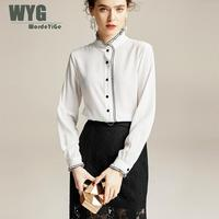 Office Lady Brief Blouses Women 2020 Spring Ruffles Stand Collar Long Sleeve White Black 100% Real Silk Blouses Shirts