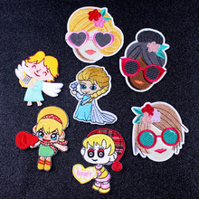 Pulaqi Cartoon Patch Elsa Anna Fairy Girls DIY EmbroideredFor Clothing Iron on Patches On Clothes Appliques Badge