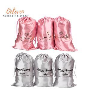 Индивидуальные печатные натуральные волосы для наращивания, атласные шелковые мешки, Подарочные пучки волос, Упаковочная Сумка