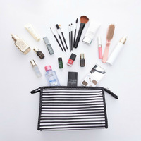 Stripe Travel Luggage Pouch Custom Polyester Travel Toiletry Bag Make Up CosmeticOrganizer Storage Bag