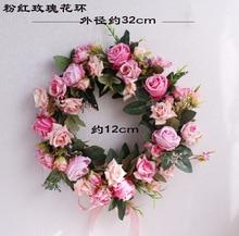 32cm Artificial Rose Flower Wreath Home Garden Front Door Walls Window Hanging Fake Flower Garland for Wedding Decoration Floral