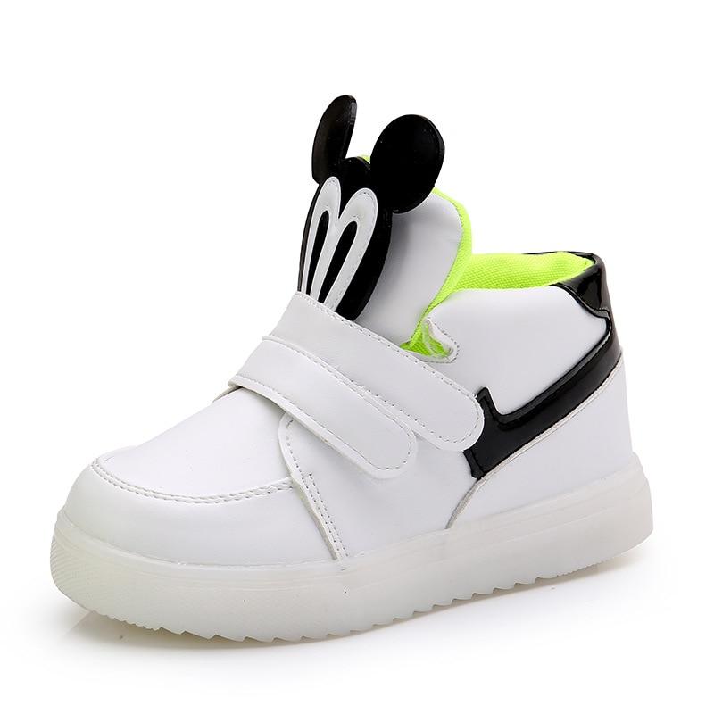 Children's Shoes Luminous Sneaker For Boys Autumn Child Slight Shoes Girl Mickey Sneaker LED Light Up Luminous Shoes Girl Tennis