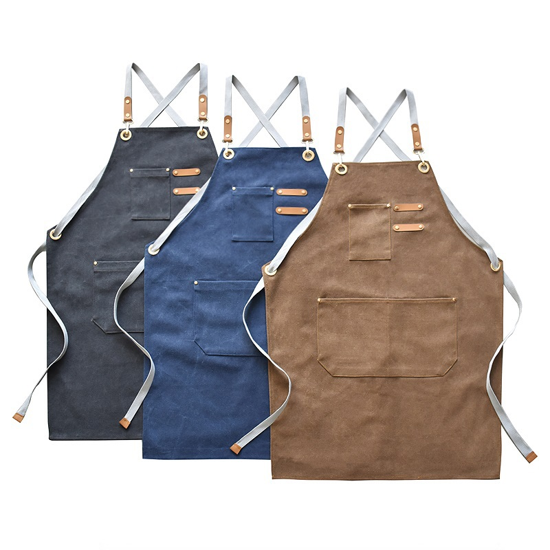 New Fashion Canvas Kitchen Aprons For Woman Men Chef Work Apron For Grill Restaurant Bar Shop Cafes Beauty Nails Studios Uniform