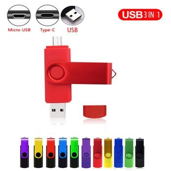 OTG 3 IN 1 pen drive 128GB Type-C usb memory stick 64GB pendrive 32GB cle usb Key flash drive 16GB Micro usb 2.0 flash pen 8GB unique usb 2 0 micro usb otg flash drive black 8gb
