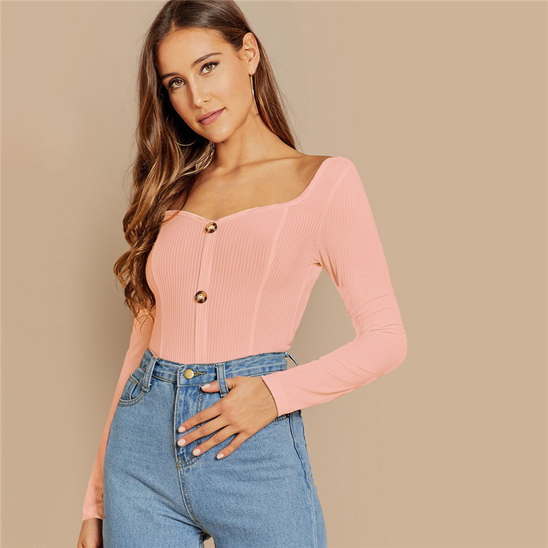 Deep V Neck Pullovers Tee Fashion women Autumn Women Tshirt Top