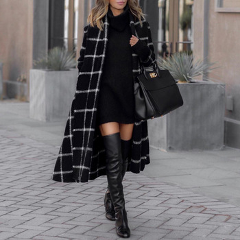 Vintage Plaid Long Sleeve Women Woolen Coats Fashion Ladies Thick Slim Coat Female Streetwear Elegant with Belt - discount item  30% OFF Coats & Jackets