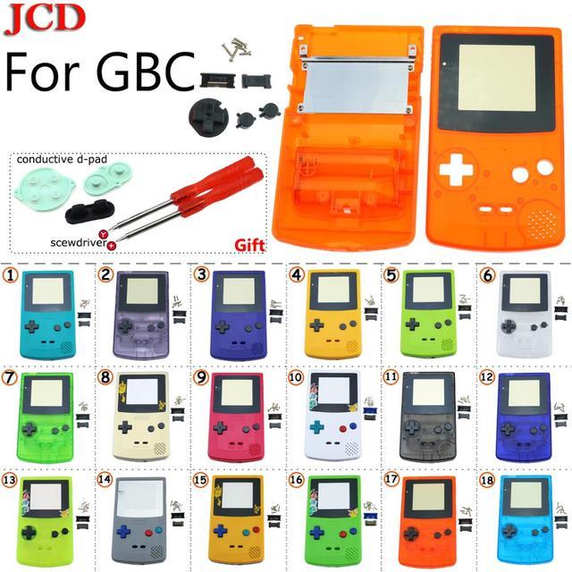 GBC 한정판 용 JCD 8 세트 Gameboy 컬러 게임 콘솔 용 쉘 교체 전체 하우징 + 전도성 d 패드 + 스크루 드라이버