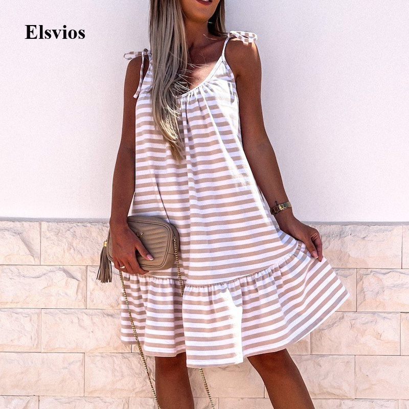2021 Summer Sleeveless Tie-up Straps Mini Dress Fashion Striped Print Ruffle Loose Beach Dress Women Casual O Neck Party Dresses