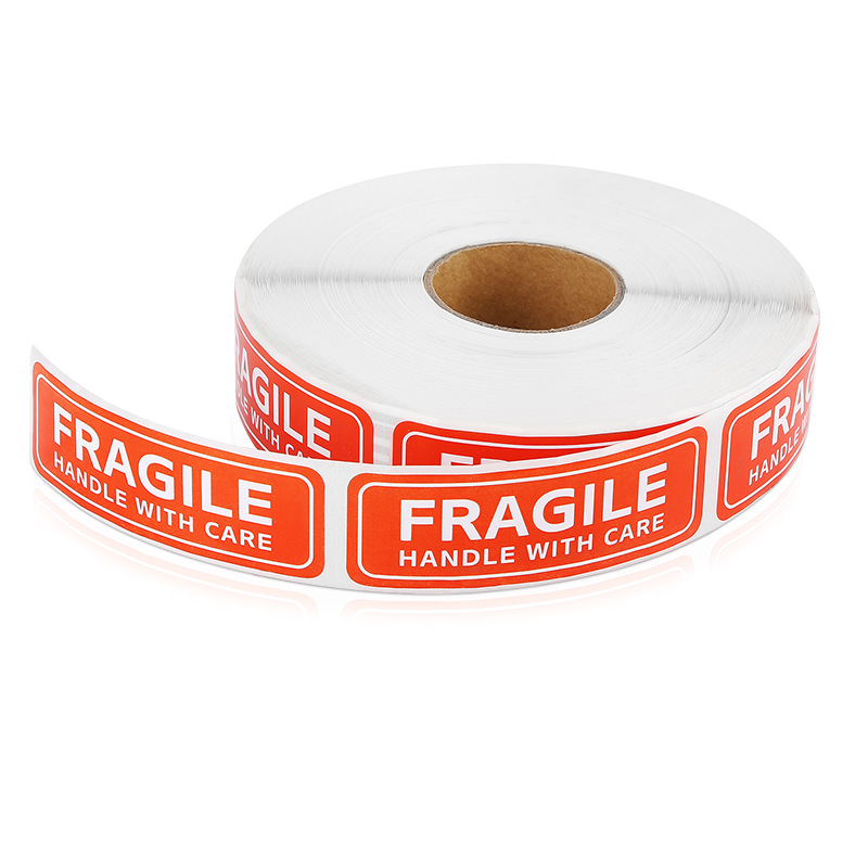 English Fragile Label Paper Copper Plate Non-drying Glue Self-adhesive Label Stickers Factory Safety Warning Simple Stickers