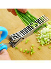 Stainless Steel Multi-functional Kitchen Multilayer Spice Green Onion Cutter Five Layer Scissors Office Shredding Scissors Knife high quality 1 set sharp scissors kitchen stainless steel five layer shear strength laver scraps multilayer scissors