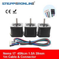 Nema 17 Schrittmotor 39mm 42BYGH 1.5A (17HS4401S) motor 45Ncm Nema17 Stepping Motor 4-blei w/1 m Kabel & Stecker für 3D Drucker