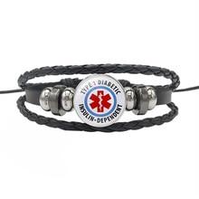 TYPE 1 DIABETES Emergency Medical Alert Bracelet  Jewelry Black Leather Snap Buttons Bracelets For Men Women