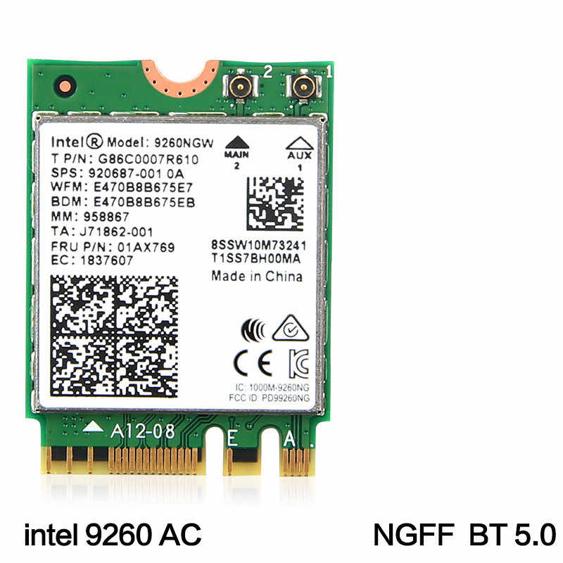 Dual Band Wireless-AC 9260 for Intel 9260NGW NGFF 802.11Ac MU-MIMO 1730Mbps 1.73Gbps WiFi + Bluetooth 5.0 Card Fit Windows 10