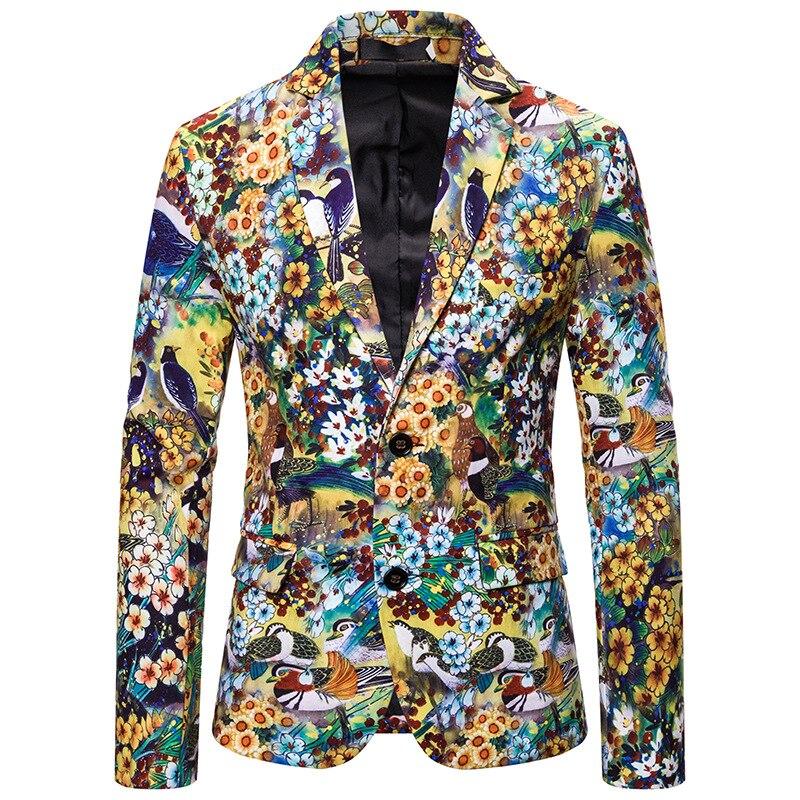 2020 Men's Spring Leisure 3 D Digital Printing Bird Suit Young Fashion Beautiful Suit