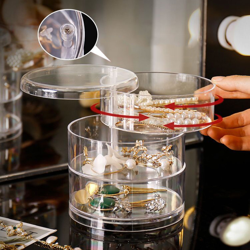 2/3/4Layers Rotating Jewelry Storage Box Makeup Organizer Transparent Bracelet Earrings Plastic Display Rack Jewelry Dust-proof