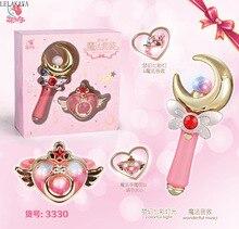Anime Sailor Moon Card Captor Sakura Action Figure Per Bambini Bacchetta Magica Bastone di Incandescenza Fata Luce Colorata Musica Asta Giocattoli Con box