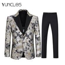 YUNCLOS Gold Stamping Closure Collar Men 3 Pcs Suits Wedding For Banquet Tuxedos Tern Masculino Traje Slim Fit Hombre