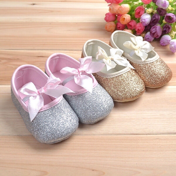 Princess Shoes Glitter Baby Shoes Sneaker Anti-slip Soft Sole Prewalker Bling Bow Shoes For Toddler Kids Age 0-18M