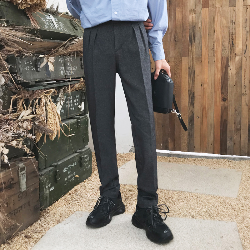 Male Vintage Fashion Japan Streetwear Harem Trousers Men Autumn Winter Elastic Waist Straight Business Casual Suit Pant