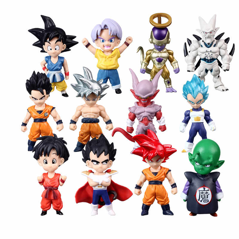 1 pièces/lot Mini Dragon Ball Z Super Saiyan fils Gohan Goku Figurine boule de Dragon troncs végéta chichi lazuli freeza jouets