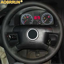 Negro de cuero protector para volante de coche para Volkswagen VW T5 transportador Caddy Caravelle 2003, 2005, 2004, 2006, 2008, 2009