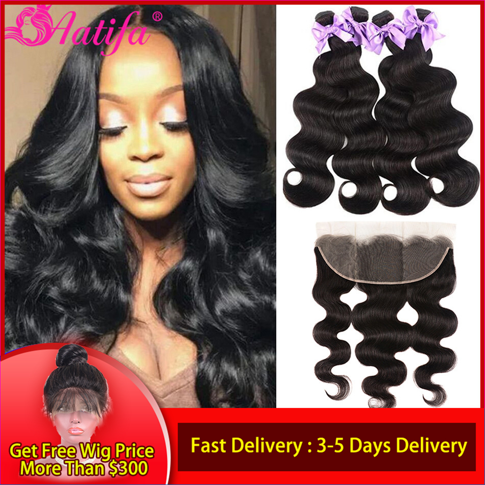 Brazilian Body Wave Bundles With Frontal 13x4/13x6 Transparent Lace Frontal Closure With Bundles Remy Frontal With Bundles