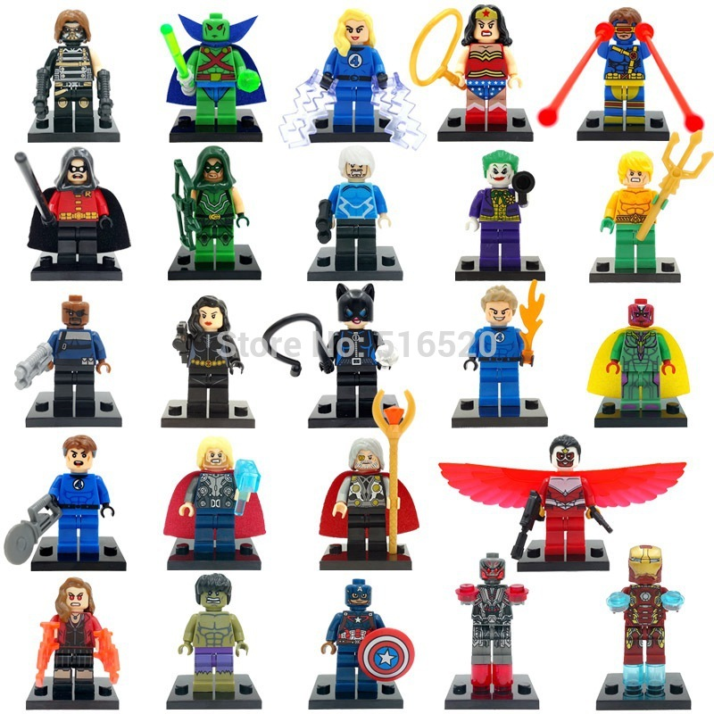 Single Super Hero Winter Soldier Cyclops Arrow Martian Manhunter Catwoman Fantastic Four Building Blocks Toys Figure Legoing