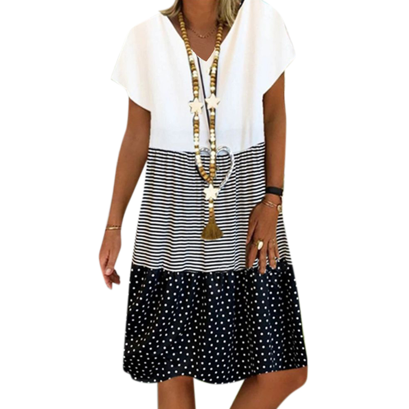 Large Size Dress For Women Summer 2020 Casual Loose Striped Color Stitching Dot Printed Dresses Ladies Leisure V Neck Vestidos