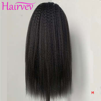 Hairvev 13*4 Yaki Lace Front Human Hair Wigs Kinky Straight 150% Density Brazilian Lace Front Wigs For Black Women Remy Hair