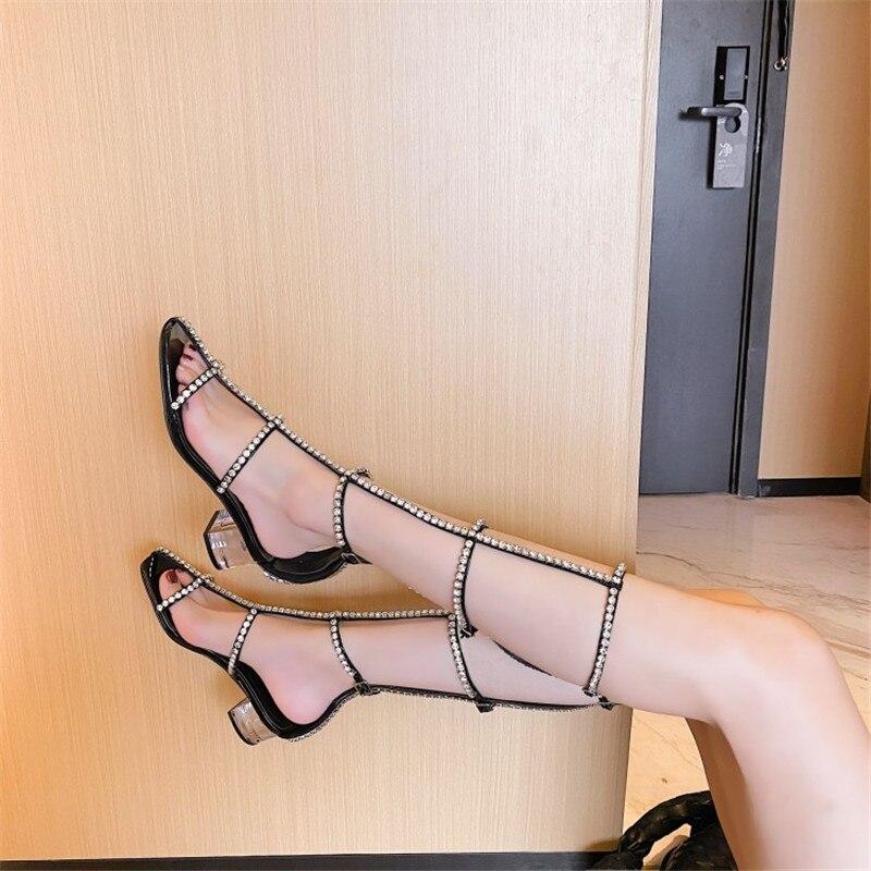 Sandales femmes 2020 nouveau polyvalent été haute tube sangle cristal moyen talon bout ouvert tube long chaussures romaines