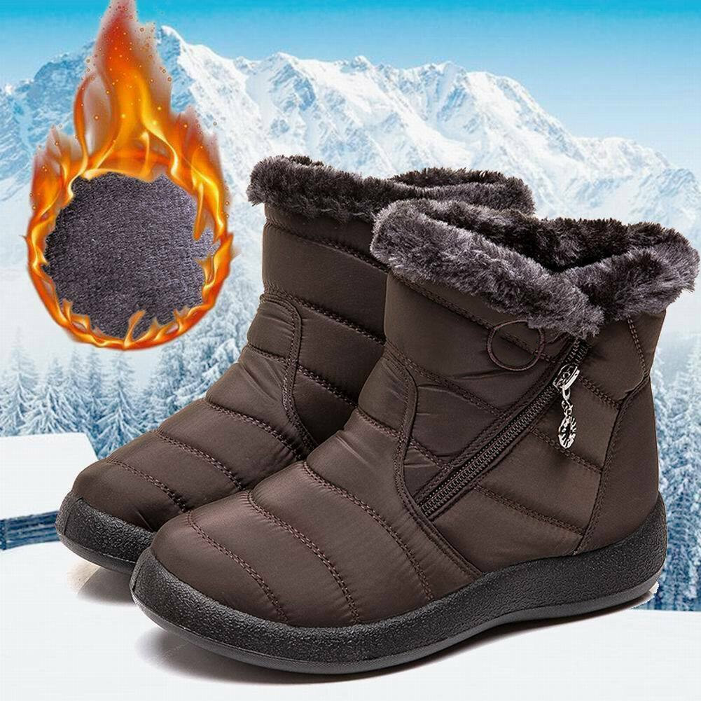 Women Winter Warm Snow Boots Plush-lined Slip On Waterproof Ankle Shoes Best Sale-WT image