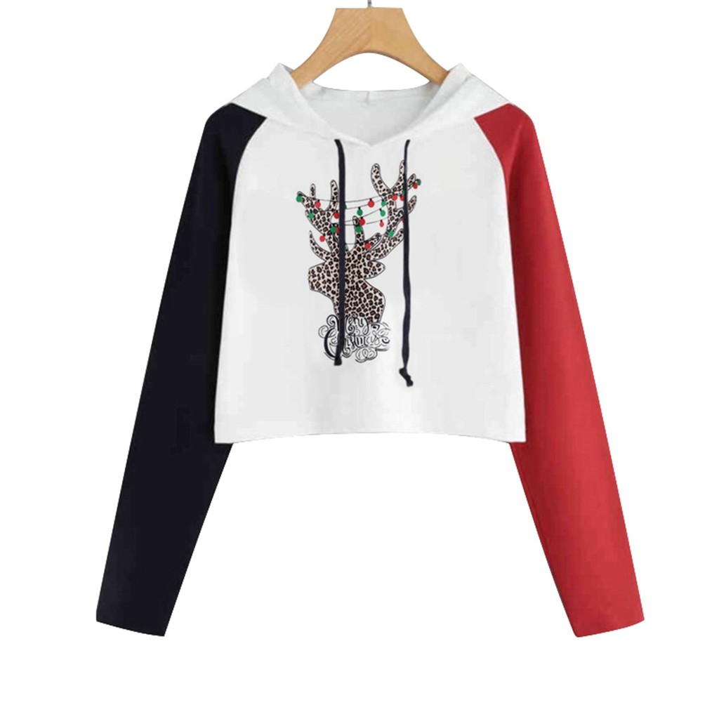Women Sweatshirts Merry Christmas Snowflake Elk Letter Print Hooded Long Sleeve Sweater Casual Blouse Tops Sudadera mujer