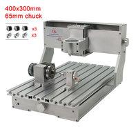 Diy cnc 3040 quadro da máquina de gravura 4 eixos 65mm mandril com nema23 motores passo e interruptor limite diy kit para trabalhar madeira metal