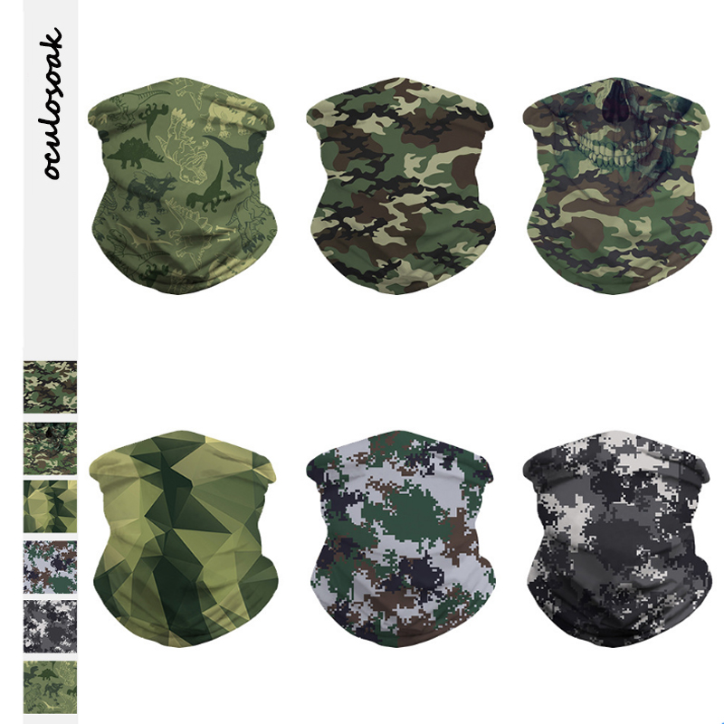 Explosion Camouflage Digital Printing Outdoor Hiking Multi-purpose  Without Brim Hat Wristband Sweat-absorbent Magic Turban