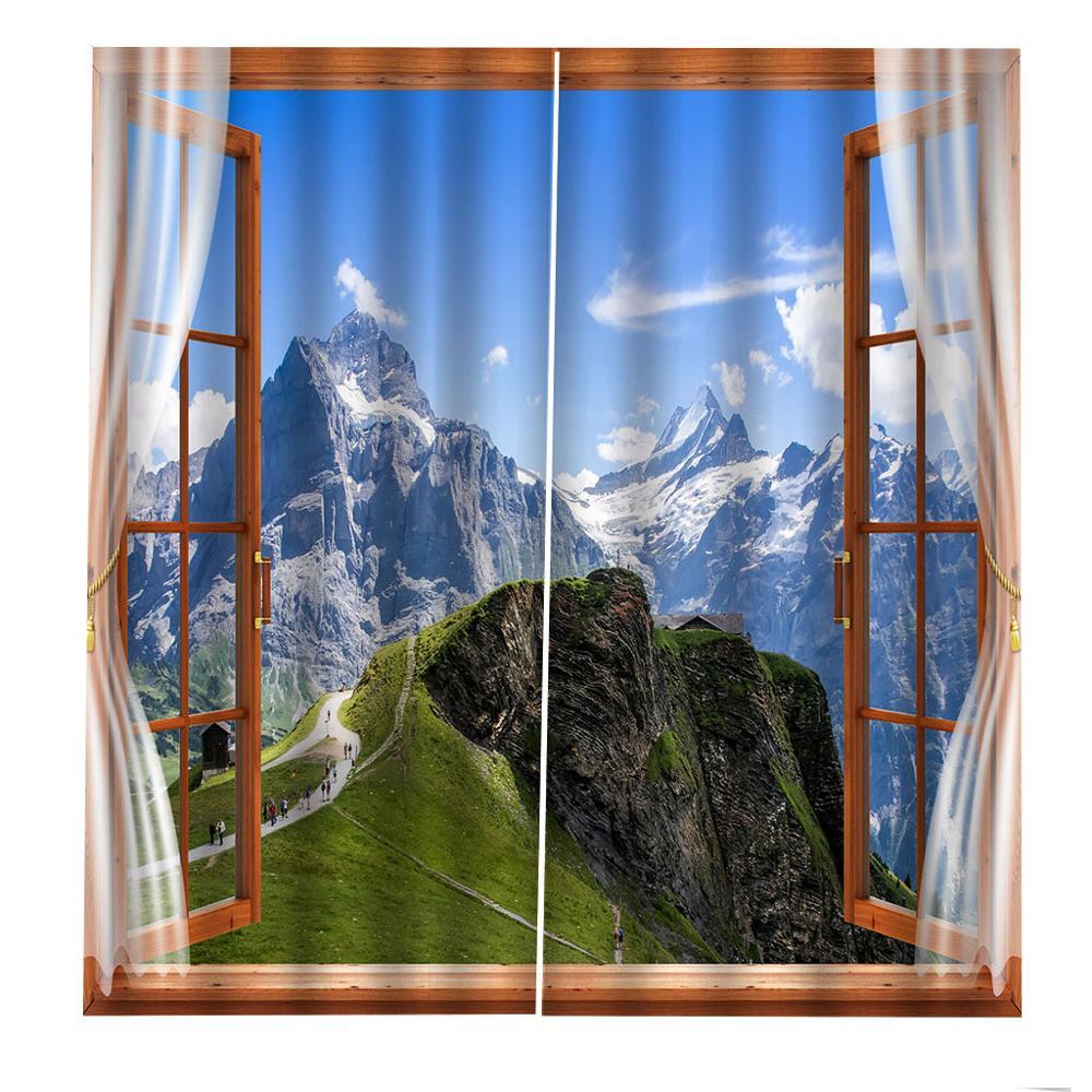 3D занавески фото размер под заказ Лес Снег пейзаж занавески Спальня Гостиная Офис Cortinas пробой Ванная комната Душ - 5
