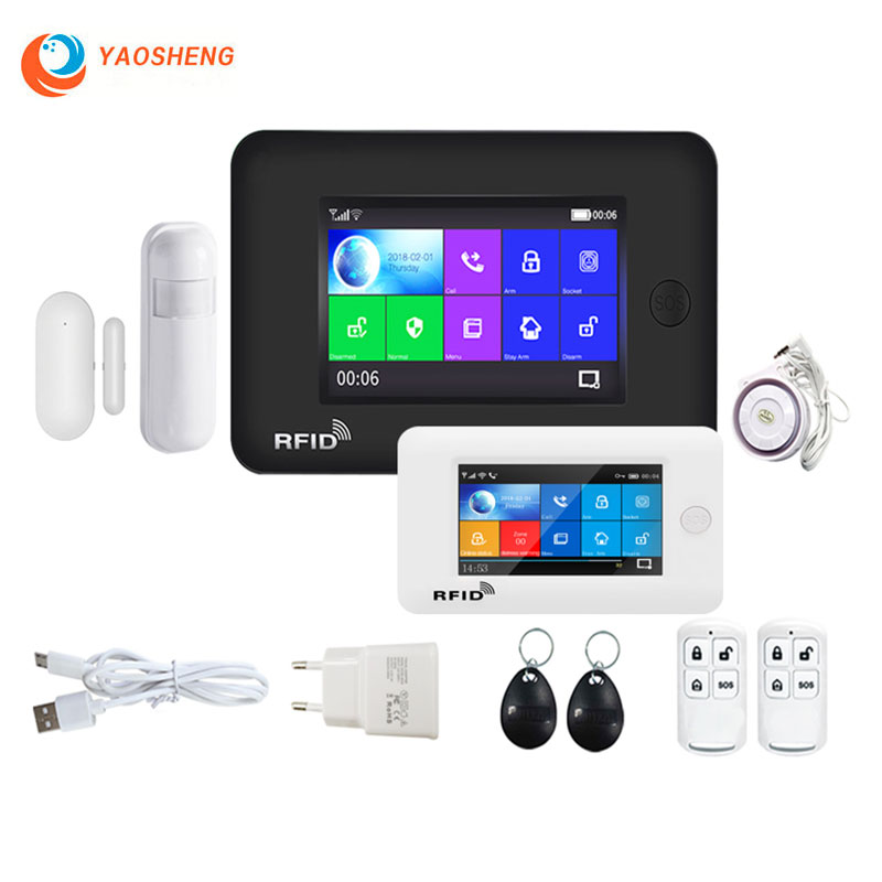 4 3 inch TFT Touch Panel 433Mhz WIFI GSM Wireless Burglar Home Security Alarm System RFID Card with Gas Detector