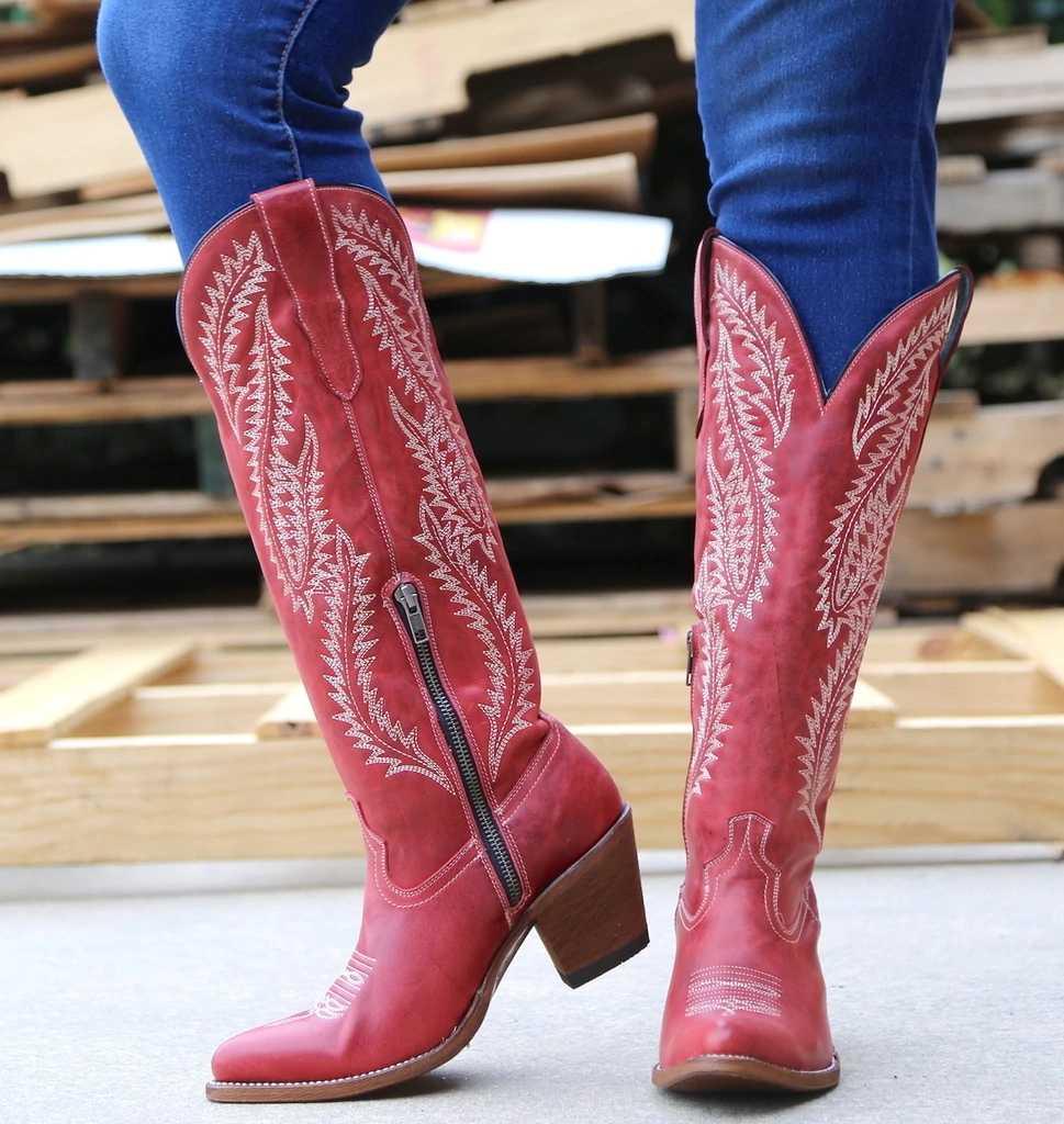 JODIMITTY คลาสสิกปัก Western คาวบอยรองเท้าหนังผู้หญิงรองเท้า Cowgirl รองเท้าส้นสูงรองเท้าเข่าสูงผู้หญิงรองเท้าผู้หญิง