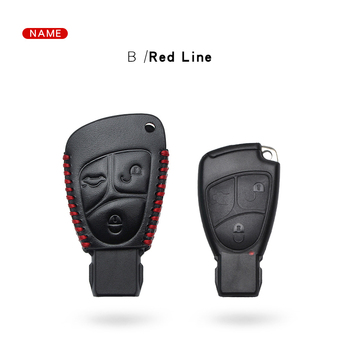 For Mercedes Benz Leather Car Key Cover For Mercedes W205 B C E S Class W203 W212 C180 E200 W124 CLS CL Key Case image