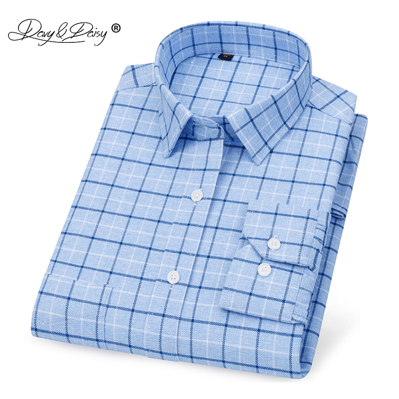 DAVYDAISY 2020 New Arrival Men Shirt 100% Cotton Oxford Long Sleeve Shirt Fashion Causal Plaid Brand Shirt 17 Colors DS348