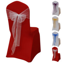 Flower Bow Chair Back Cover Net Sash Back Ties Elegant Party Decor Multi-color Dedding Wedding Decoration Organza Chair Sash(China)