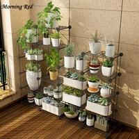 Multi Layer Plant Stand Balcony Flower Rack Simple Garden Flower Jardiniere Organizer Pot Shelf for Home Storage Decoration